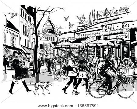 Old cafe in Paris Montmartre - vector illustration