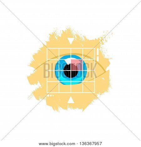 Eye retina scan vector emblem illustration, virtual verification identity concept, scanning medical test, recognition innovation, identification, modern contemporary technology logo isolated on white