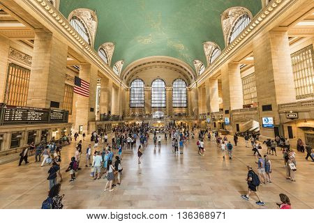 New York, USA - June 19, 2016: Bustling grand central terminal in New York City