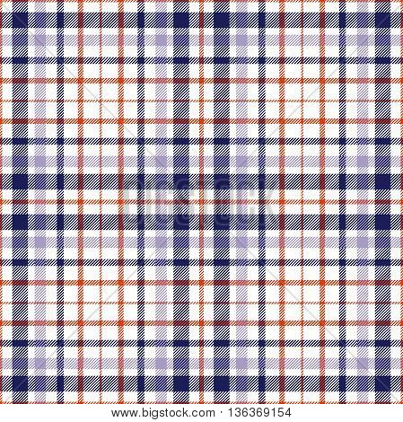 Seamless tartan plaid pattern. Twill stripes in navy blue, red & lavender violet on white background.
