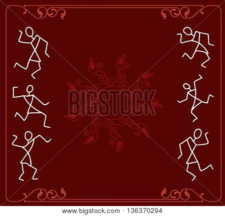 Folk Dancers Tribal Design, Motif, Wall Painting Vector Illustration