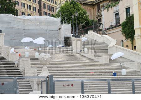 Rome, Italy 17 June 2016. Staff working on the restoration of the Spanish Steps. The restoration of the famous Steps at Piazza di Spagna is estimated to cost 1.5 million euros.