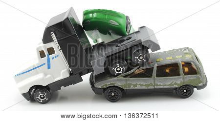 truck collides with car isolated white background