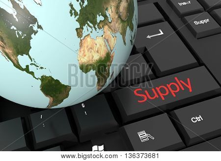3d render of globe on keyboard with logistics supply key