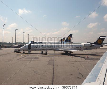 Lufthansa Planes At Airport In Munchen