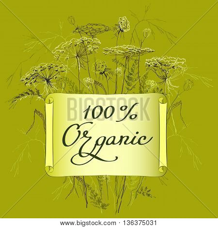 Hand-draw label template with wild flowers and herbs. Hundred percent organic lettering card. Design for herbal cosmetics, natural and organic product store, package. Vector illustration stock vector.