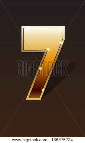 Golden number seven on dark background isolated. Golden alphabet. Vector illustration number seven for golden best choice design. Vector illustration stock vector.