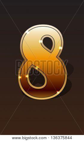 Golden number eight on dark background isolated. Golden alphabet. Vector illustration number eight for golden best choice design. Vector illustration stock vector.