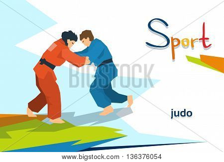 Disabled Athletes Judo Opponents Sport Competition Flat Vector Illustration