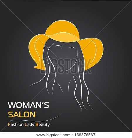 Vector illustration. Handdrawing. Silhouette woman in orange hat on black background. Banner or card template for womans shop or salon. For sale card