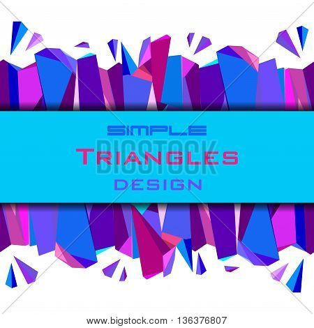 Horizontal blue abstract geometric background. Center blue border geometric design. Blue, red, pink and purple geometric abstract triangles border design background. Vector illustration stock vector.