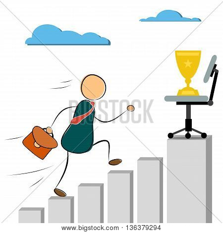 Vector illustration businessman cartoon character run to success cup. On growth chart. Drawing. Doodle