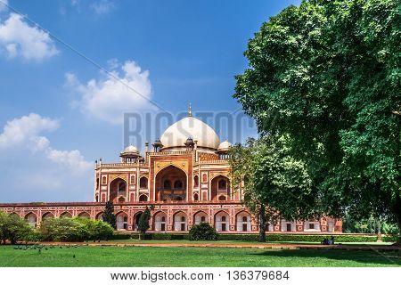 Beautiful view of Humayun's Tomb UNESCO World Heritage Centre Delhi