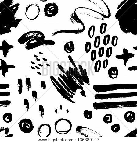 Vector seamless trendy modern brush stokes spots and geometry shape pattern. Messy ink dry brush background with trendy shapes and textures. Black and white artistic pattern. Great for print wrapping paper wallpaper