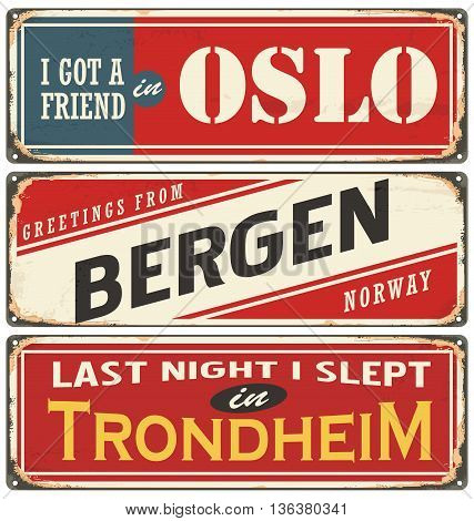 Vintage signs collection with cities and tourist attractions in Norway. Travel souvenirs on grunge damaged background.