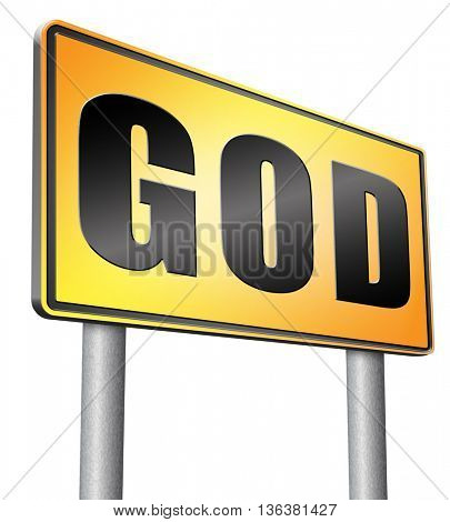 God and salvation search road to heaven, religion and belief in the lord, road sign billboard.