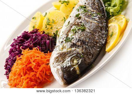 Fish dish - roasted dorada and vegetables