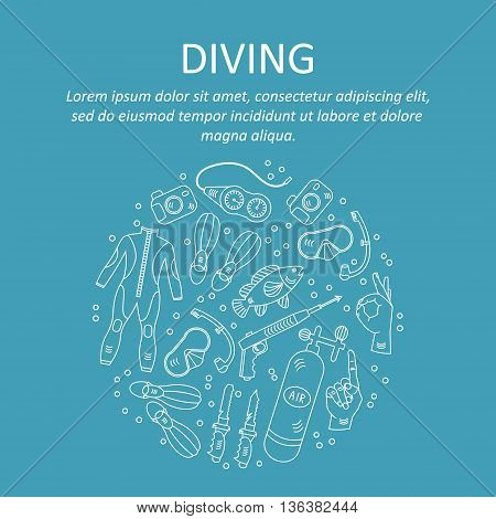 Vector card with diving equipment. Diving line icons of scuba, oxygen balloon, diver knife, harpoon, spear gun, gauge, camera.