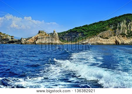 ancient Portovenere castle on the cliff by the sea