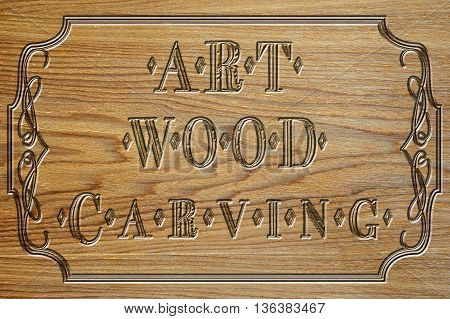 vintage style signboard carved wood art carving