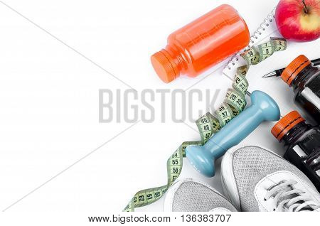 Set For Sports Activities And Juice Of Bottle