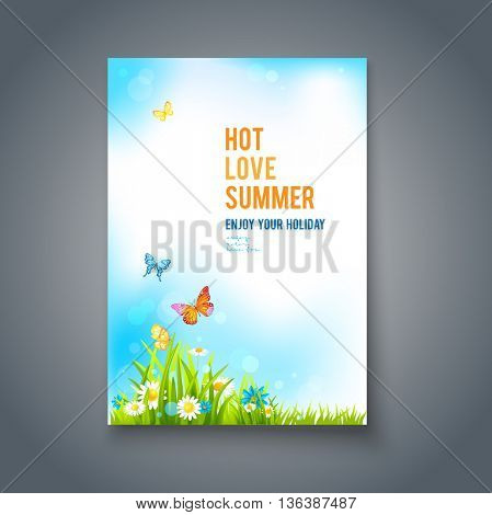 Summer positive card. Bright summer blank with flowers and butterflies. Nature template for design banner,ticket, leaflet, card, poster and so on.
