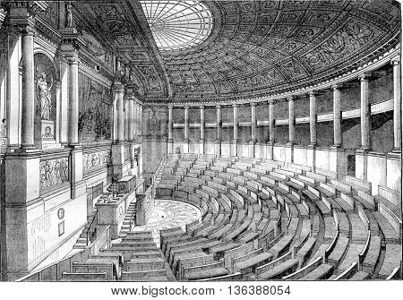 Inside the Chamber of Deputies, vintage engraved illustration. Magasin Pittoresque 1843.