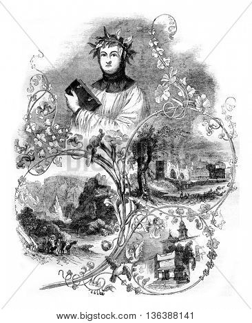 Portrait of Petrarch crown the Capitol, vintage engraved illustration. Magasin Pittoresque 1843.