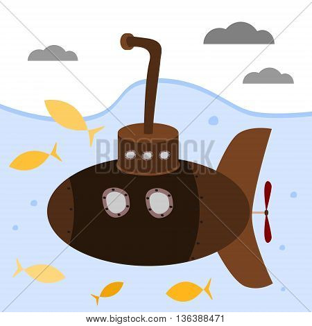 Brown submarine with periscope diving under water in a sea among yellow fish. Cartoon vector illustration.