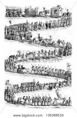Festival of wine growers, Vevey, End of the procession, vintage engraved illustration. Magasin Pittoresque 1843.