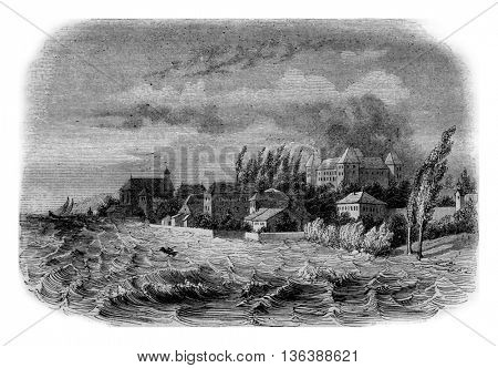 View of Coppet, at the edge of Leman, vintage engraved illustration. Magasin Pittoresque 1843.
