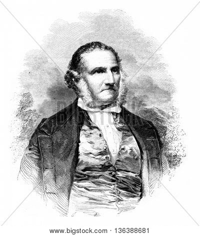 John James Audubon was born in 1780, died January 27, 1851, vintage engraved illustration. Magasin Pittoresque 1852.