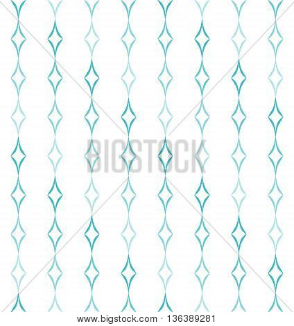 Abstract geometric pattern of light blue curved diamonds set in vertical stripes on white background. Seamless repeat.