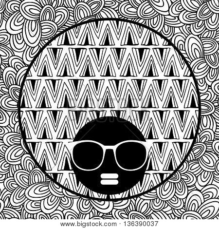 Doodle pattern with black skin woman in sunglasses for coloring. Vector illustration. Portrait of pretty afro girl with cool hair.