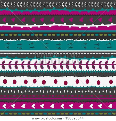 Whimsical Embroidery Stripes And Stitches Hand Drawn Doodle Pattern. Seamless Texture With Stitches,