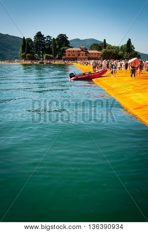 Floating Piers Near Isola Di San Paolo Vertical View