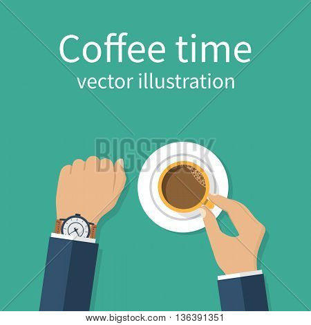 Coffee time. Vector illustration flat design. Businessman drinking coffee looking at watch break at work. Time to relax and think. Hands holding cup. Time out on work.