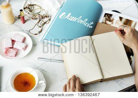 Mockup Copyspace Reading Book Magazine Concept