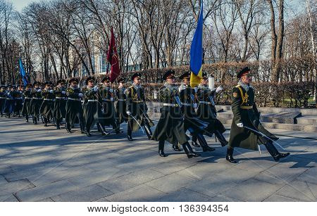 Kiev Ukraine - April 8 2015. Ukrainian honour guards marches at Alley of The Fallen Heroes in Kiev