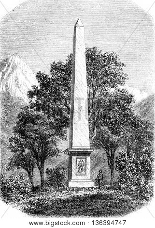 Despourrins high monument in the valley of Aspe, vintage engraved illustration. Magasin Pittoresque 1852.