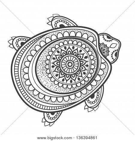 Greeting Beautiful card with turtle. Frame of animal made in vector. Etno Style. Turtle Illustration for design, pattern, textiles. Hand drawn map with turtle. Coloring book pages