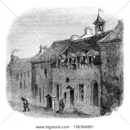 House of Bourg la Reine or died Condorcet, This house is destroyed, vintage engraved illustration. Magasin Pittoresque 1852.