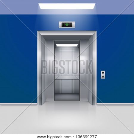 Realistic Empty Elevator with Half Open Door in Blue Lobby