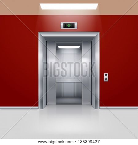 Realistic Empty Elevator with Half Open Door in Red Lobby