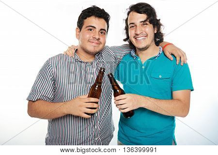 Two Smiling Friend With Beer
