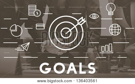 Bull's Eye Goal Mission Icon Graphics Concept