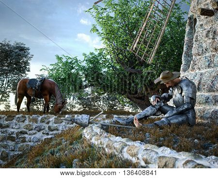 Don Quixote and windmill conception illustration 3d composition