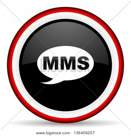 mms round glossy icon, modern design web element