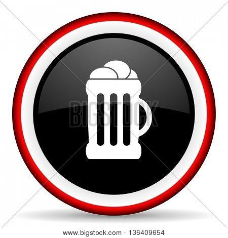 beer round glossy icon, modern design web element