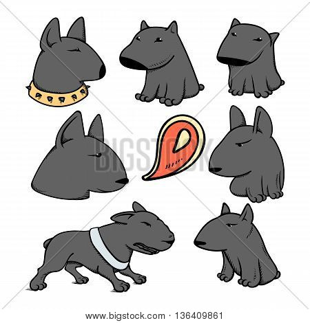 Dogs characters pitbull. Funny animals cartoon. Doodle dog. Sticker dog pitbull. Funny character dogs. Set dog isolated pitbull.